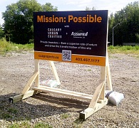 Small construction sign on skid